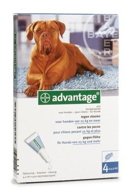 Vlooienmiddel hond Adventage 400 voor honden van 25-40 kg, 4 pipetten voor op de huid, uitstekende werking tegen vlooien