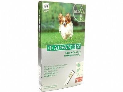 Vlooienmiddel hond Adventix  40/200    ( 4 pipetten voor honden van 1.5 kg- 4 kg) voor op de huid tegen vlooien en teken