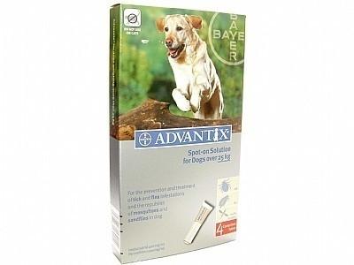 Vlooienmiddel hond Adventix  400/2000 (4 pipetten voor honden van 25 kg-40 kg)  voor op de huid tegen vlooien en teken