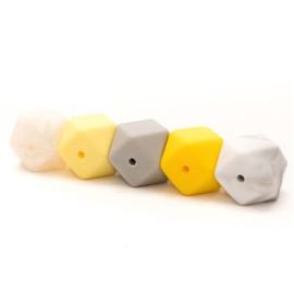 Hexagon silicone kralen geel/grijs (5 stuks)