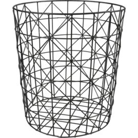 Metalen mand Ø33cm, 36cm, rond, zwart
