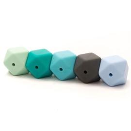 Hexagon silicone kralen blauw/groen (5 stuks)