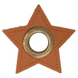 Nestels op bruin skai leer - ster 11 mm brons