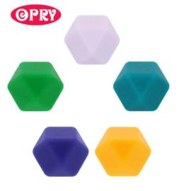 Opry - siliconen kralen hexagon groen/geel/paars (14mm)