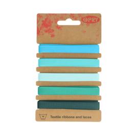 Grosgrain lint Blauw/Groen | 10mm - 5x1m