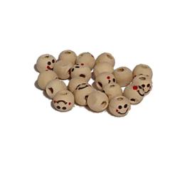 Smiley houten kralen 8mm (10 stuks)
