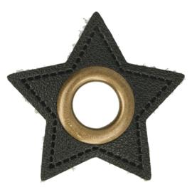 Nestels op zwart skai leer - ster 11 mm brons