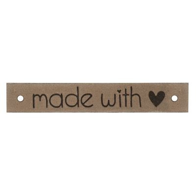 Leren label Made with ♥