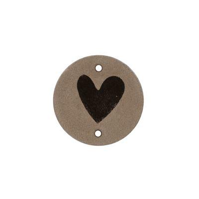 Leren label Round Hart