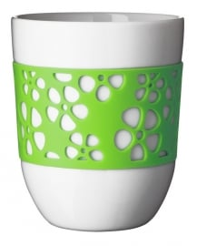 2 Thermobekers met groene siliconen bloemen sleeve