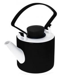 Zwarte theepot porselein cilinder met clip handvat 1 liter