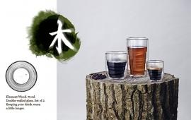 "2 dubbelwandige QDO design theeglazen ""Wood"" 350ml"