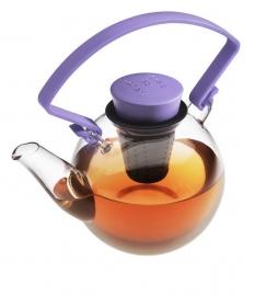 Glazen theepot met paars cliphandvat, 1 liter