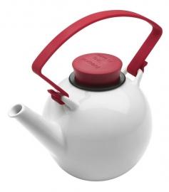 Porseleinen theepot met rood cliphandvat, 1 liter
