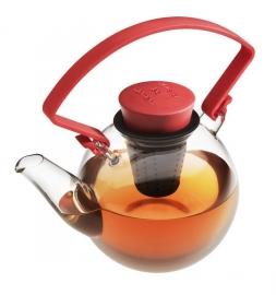 Glazen theepot met rode cliphandvat, 1 liter