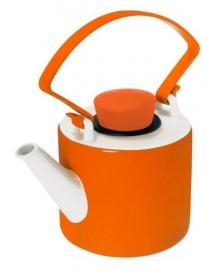 Oranje theepot porselein cilinder met clip handvat 1 liter