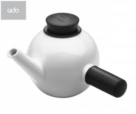 Porseleinen theepot met sidehandle wit/zwart, 1 liter