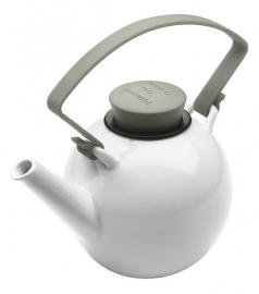 Porseleinen theepot met taupe cliphandvat, 1 liter