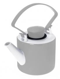 Taupe theepot porselein cilinder met clip handvat 1 liter