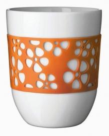 2 Thermobekers met oranje silicone bloemen sleeve
