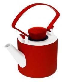 Rode theepot porselein cilinder met clip handvat 1 liter