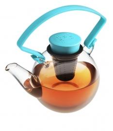 Glazen theepot met turqoise cliphandvat, 1 liter