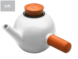 Porseleinen theepot met sidehandle wit/oranje, 1 liter