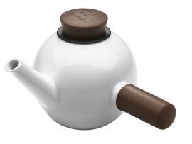 Porseleinen theepot met sidehandle wit/bruin, 1 liter