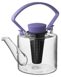 Glazen theepot cilinder vorm met paarse clip handvat 1 liter