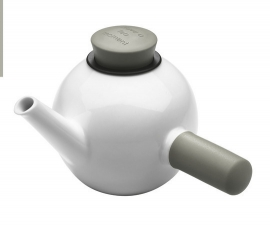 Porseleinen theepot met sidehandle wit/taupe, 1 liter