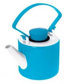 Turqoise theepot porselein cilinder met clip handvat 1 liter