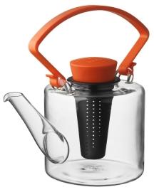 Glazen theepot cilinder vorm met oranje clip handvat 1 liter