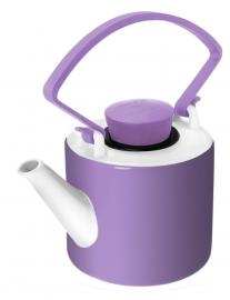 Paarse theepot porselein cilinder met clip handvat 1 liter