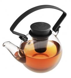 Glazen theepot met zwart cliphandvat, 1 liter