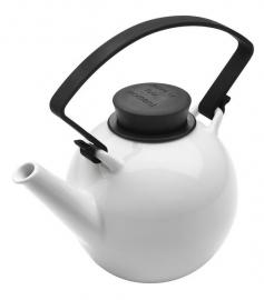 Porseleinen theepot met zwart cliphandvat, 1 liter