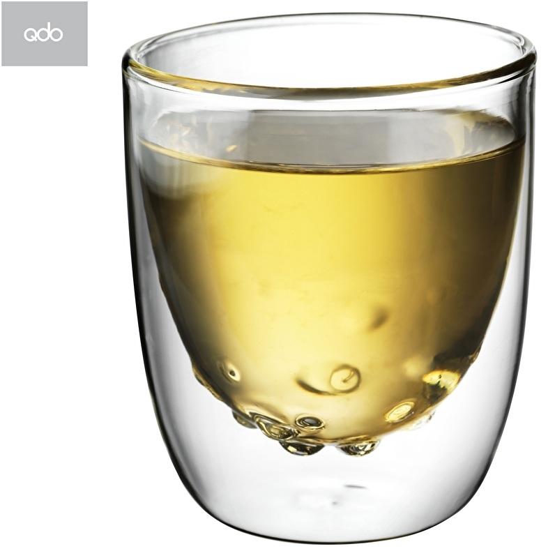 """2 dubbelwandige QDO design theeglazen """"Water"""" 75 ml"""
