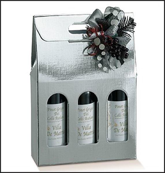 Cadeauverpakking voor 2 flessen wijn zilver