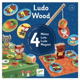 Djeco - Ludo Wood - 4 spellen Memo/loto/ludo/magnet c DJ01628