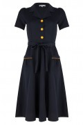 Very Cherry - Revers Dress Midi Navy Mustard