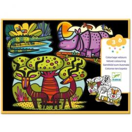 Djeco -  kleuren met fluweel - dieren van de savanne