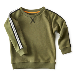Little label crew sweater-olive green