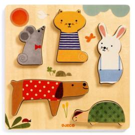 Djeco relief puzzel - woodypets