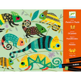 Djeco -  waskrijtjes - kleurrijke jungle