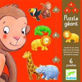 Djeco grote puzzel  - Marmoset & vrienden