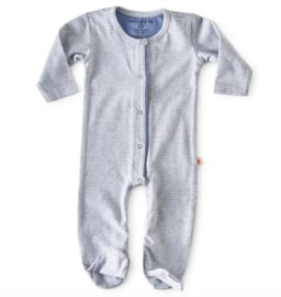 Little label jumpsuit  with feet  Medium blue stripe