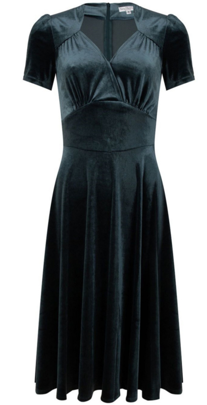 Very Cherry -Circle Dress Steam Velvet Bluegris