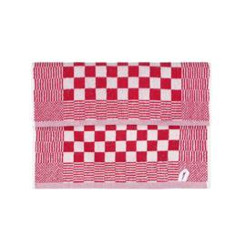 Handdoek, Rood En Witte Blok, 52x55cm, Katoen, Treb Towels