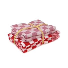Set Textile Cuisine, Rouge, 2x Serviette 50x50cm + 2x Torchon 65x65cm, Torchons Treb