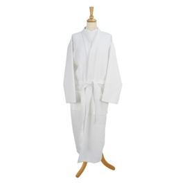 Badjas, Wafel, Wit, Kimono Model, Size: XL
