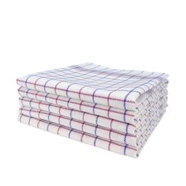 Geschirrtuch , Weiß mit Roten und Blauen Streifen, 70x70cm, Treb Towels